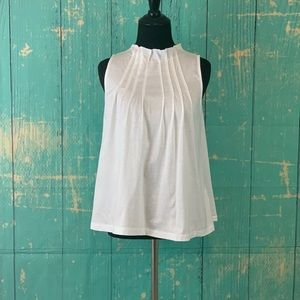 GAP White High Pleated Neck Sleeveless Top